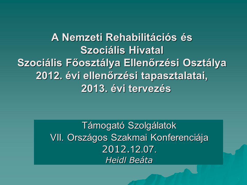 A Nemzeti Rehabilitációs és Szociális Hivatal Szociális Főosztálya Ellenőrzési Osztálya 2012. évi ellenőrzési tapasztalatai, 2013. évi tervezés Támoga