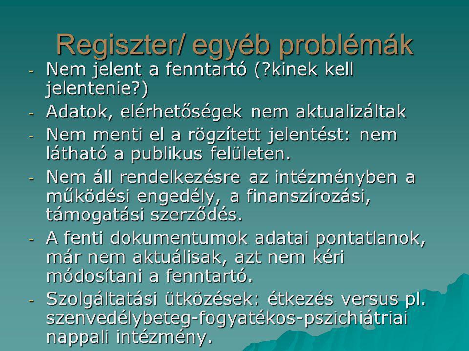 Regiszter/ egyéb problémák - Nem jelent a fenntartó (?kinek kell jelentenie?) - Adatok, elérhetőségek nem aktualizáltak - Nem menti el a rögzített jel