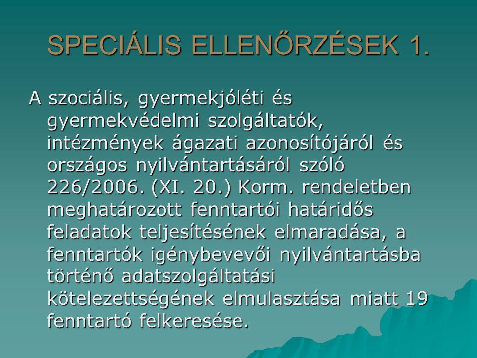 SPECIÁLIS ELLENŐRZÉSEK 1. A szociális, gyermekjóléti és gyermekvédelmi szolgáltatók, intézmények ágazati azonosítójáról és országos nyilvántartásáról