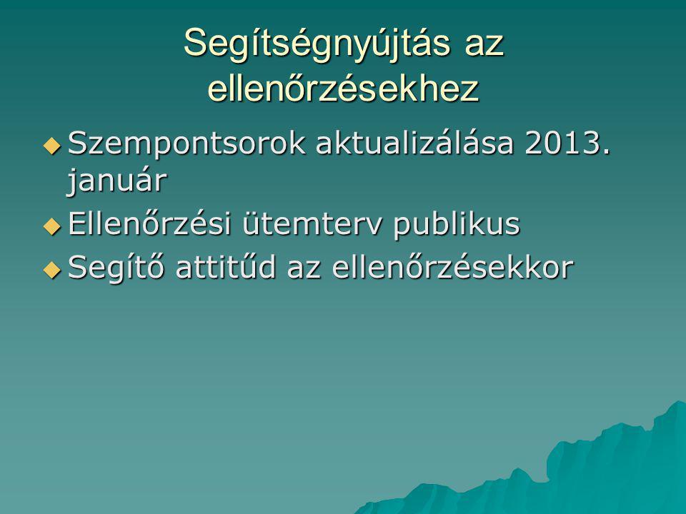 Segítségnyújtás az ellenőrzésekhez  Szempontsorok aktualizálása 2013. január  Ellenőrzési ütemterv publikus  Segítő attitűd az ellenőrzésekkor