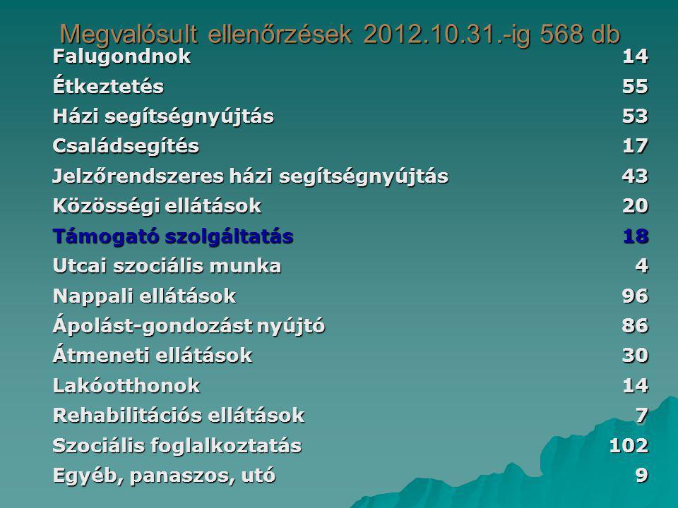 Megvalósult ellenőrzések 2012.10.31.-ig 568 db Falugondnok14 Étkeztetés55 Házi segítségnyújtás 53 Családsegítés17 Jelzőrendszeres házi segítségnyújtás