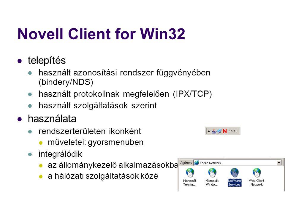 Novell Client for Win32 telepítés használt azonosítási rendszer függvényében (bindery/NDS) használt protokollnak megfelelően (IPX/TCP) használt szolgáltatások szerint használata rendszerterületen ikonként műveletei: gyorsmenüben integrálódik az állománykezelő alkalmazásokba a hálózati szolgáltatások közé
