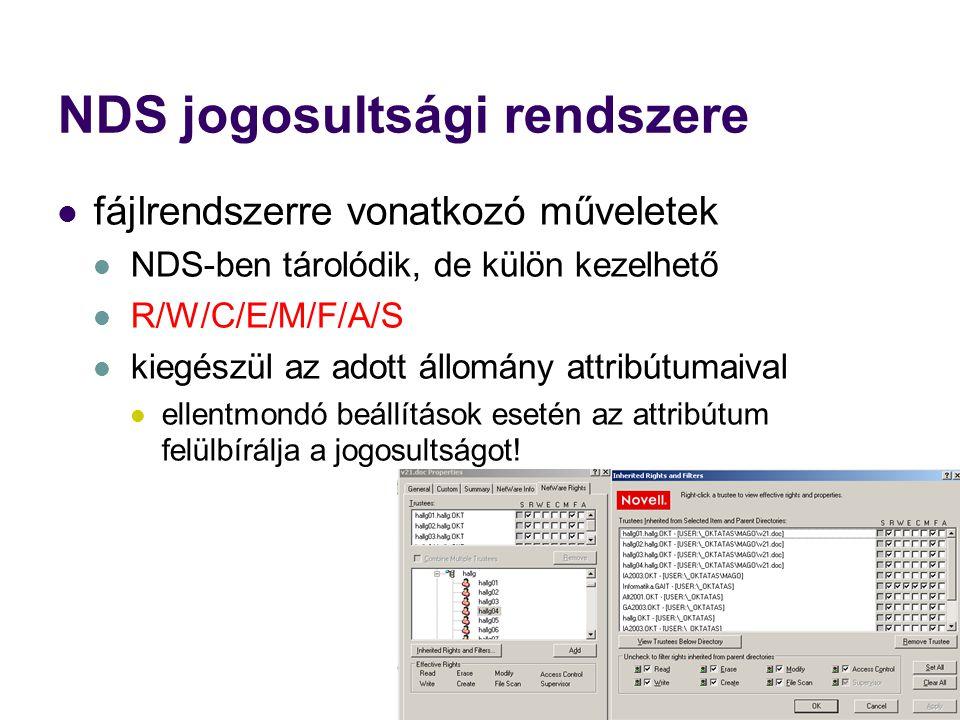 NDS jogosultsági rendszere fájlrendszerre vonatkozó műveletek NDS-ben tárolódik, de külön kezelhető R/W/C/E/M/F/A/S kiegészül az adott állomány attribútumaival ellentmondó beállítások esetén az attribútum felülbírálja a jogosultságot!