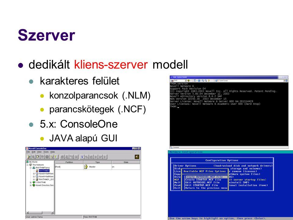 Szerver dedikált kliens-szerver modell karakteres felület konzolparancsok (.NLM) parancskötegek (.NCF) 5.x: ConsoleOne JAVA alapú GUI