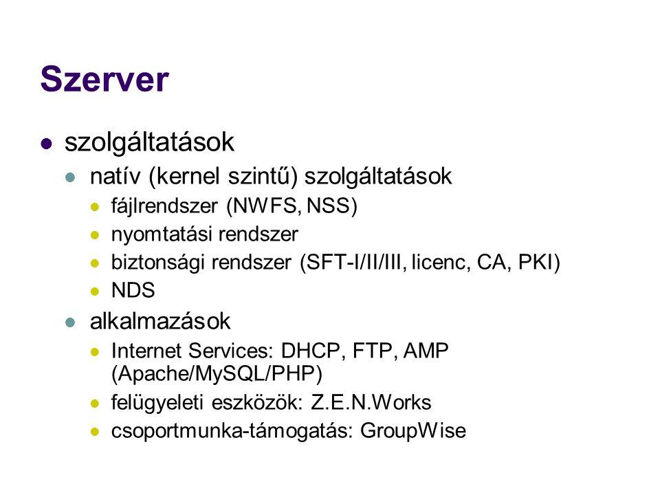 Szerver szolgáltatások natív (kernel szintű) szolgáltatások fájlrendszer (NWFS, NSS) nyomtatási rendszer biztonsági rendszer (SFT-I/II/III, licenc, CA, PKI) NDS alkalmazások Internet Services: DHCP, FTP, AMP (Apache/MySQL/PHP) felügyeleti eszközök: Z.E.N.Works csoportmunka-támogatás: GroupWise