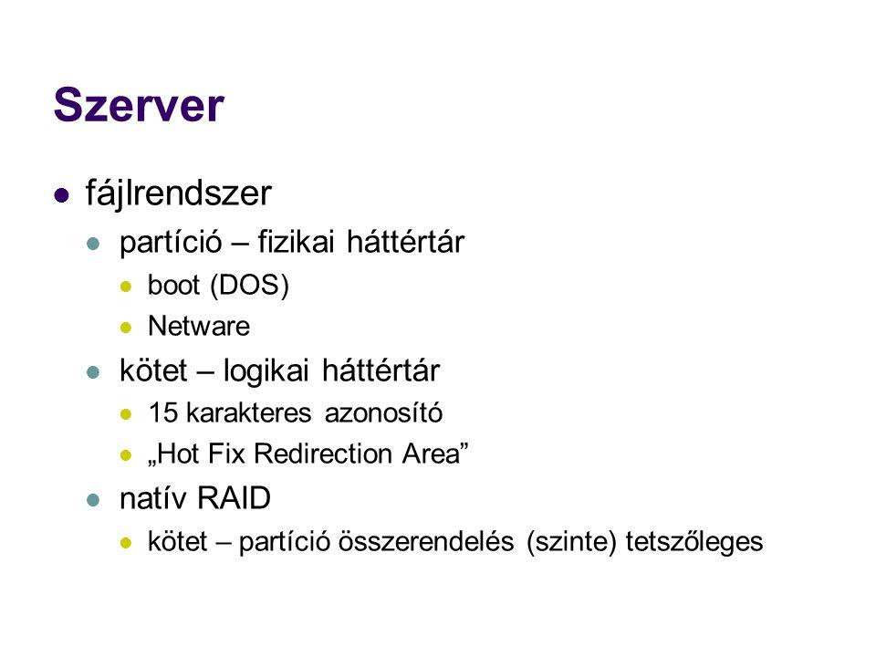 """Szerver fájlrendszer partíció – fizikai háttértár boot (DOS) Netware kötet – logikai háttértár 15 karakteres azonosító """"Hot Fix Redirection Area natív RAID kötet – partíció összerendelés (szinte) tetszőleges"""