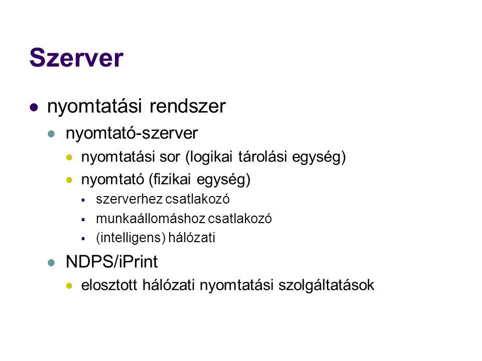 Szerver nyomtatási rendszer nyomtató-szerver nyomtatási sor (logikai tárolási egység) nyomtató (fizikai egység)  szerverhez csatlakozó  munkaállomáshoz csatlakozó  (intelligens) hálózati NDPS/iPrint elosztott hálózati nyomtatási szolgáltatások