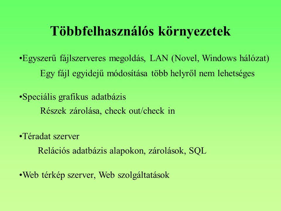 Többfelhasználós környezetek Egyszerű fájlszerveres megoldás, LAN (Novel, Windows hálózat) Egy fájl egyidejű módosítása több helyről nem lehetséges Speciális grafikus adatbázis Részek zárolása, check out/check in Téradat szerver Relációs adatbázis alapokon, zárolások, SQL Web térkép szerver, Web szolgáltatások