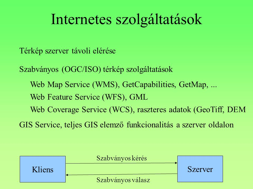 Internetes szolgáltatások Térkép szerver távoli elérése Szabványos (OGC/ISO) térkép szolgáltatások Web Map Service (WMS), GetCapabilities, GetMap,...