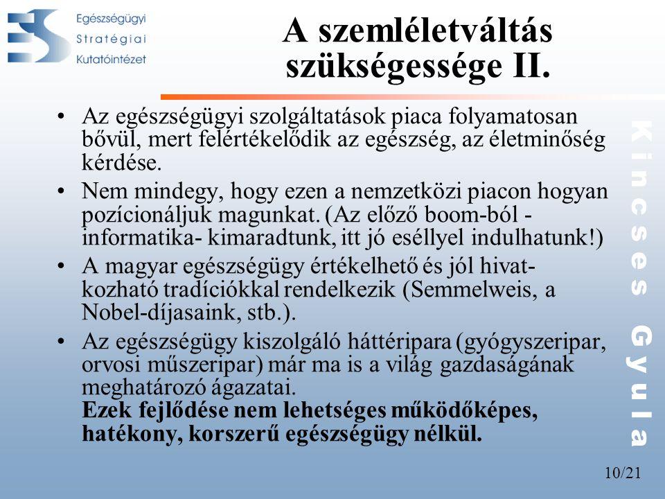 10/21 K i n c s e s G y u l a A szemléletváltás szükségessége II.