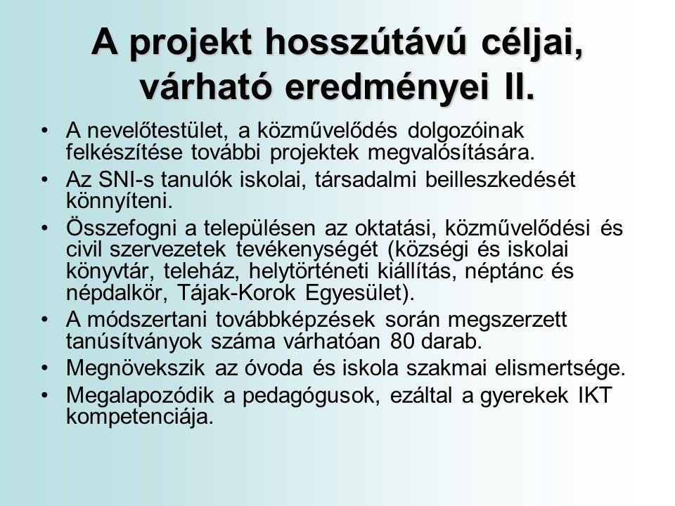 A projekt célcsoportjai A projekt célcsoportjai: Óvodások 70 fő köztük 16 fő HHH Általános iskolai tanulók 1-8.