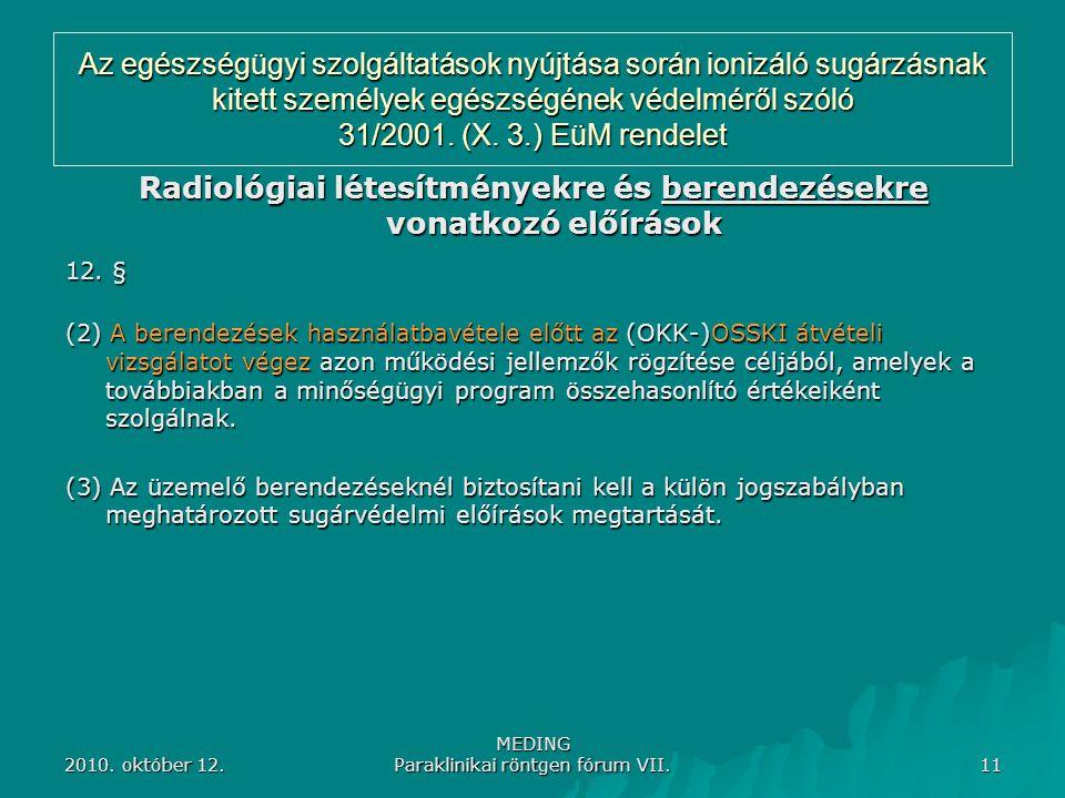 2010. október 12. MEDING Paraklinikai röntgen fórum VII. 11 Az egészségügyi szolgáltatások nyújtása során ionizáló sugárzásnak kitett személyek egészs