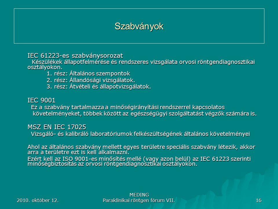 2010. október 12. MEDING Paraklinikai röntgen fórum VII. 16 Szabványok IEC 61223-es szabványsorozat Készülékek állapotfelmérése és rendszeres vizsgála