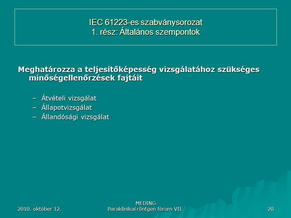 2010. október 12. MEDING Paraklinikai röntgen fórum VII. 20 IEC 61223-es szabványsorozat 1. rész: Általános szempontok Meghatározza a teljesítőképessé
