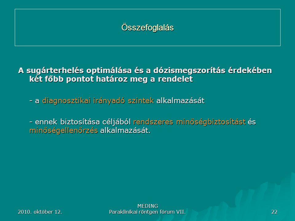 2010. október 12. MEDING Paraklinikai röntgen fórum VII. 22 Összefoglalás A sugárterhelés optimálása és a dózismegszorítás érdekében két főbb pontot h