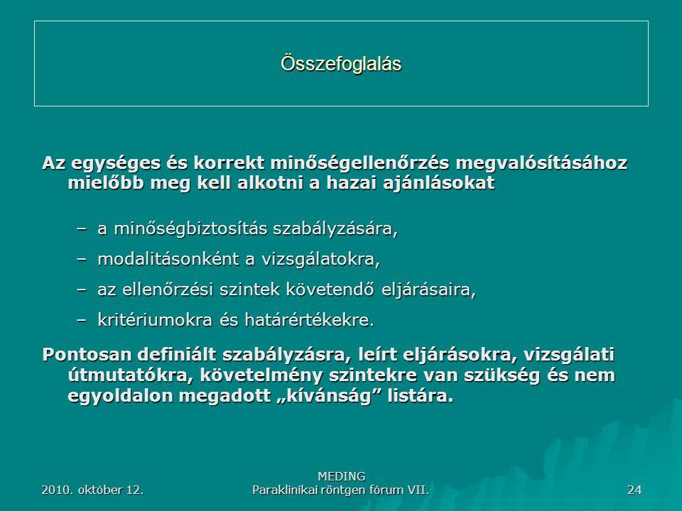 2010. október 12. MEDING Paraklinikai röntgen fórum VII. 24 Összefoglalás Az egységes és korrekt minőségellenőrzés megvalósításához mielőbb meg kell a