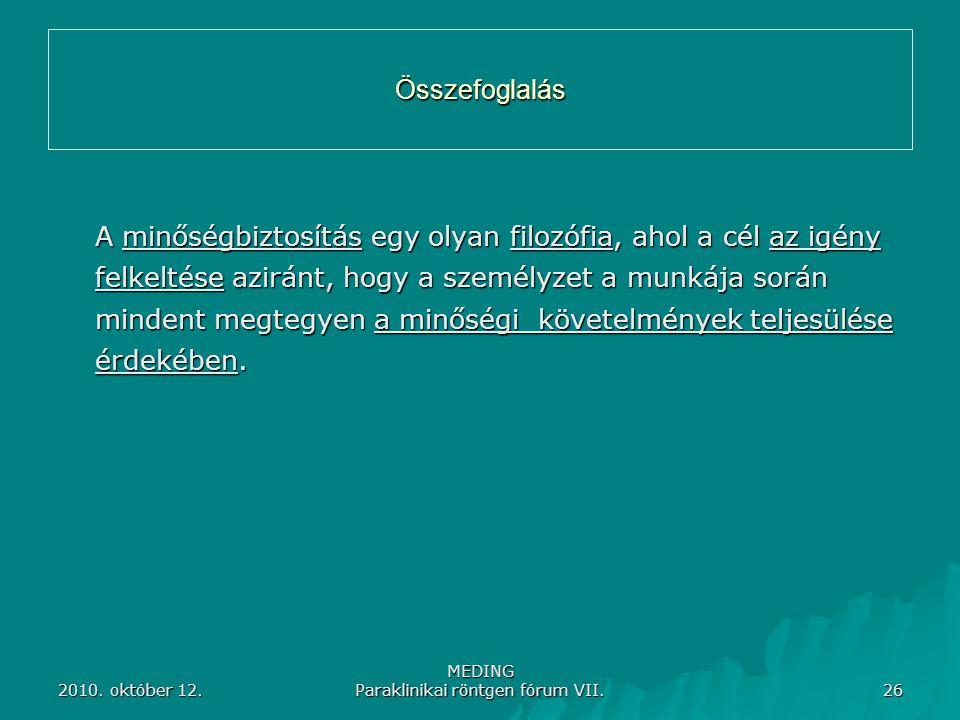 2010. október 12. MEDING Paraklinikai röntgen fórum VII. 26 Összefoglalás A minőségbiztosítás egy olyan filozófia, ahol a cél az igény felkeltése azir