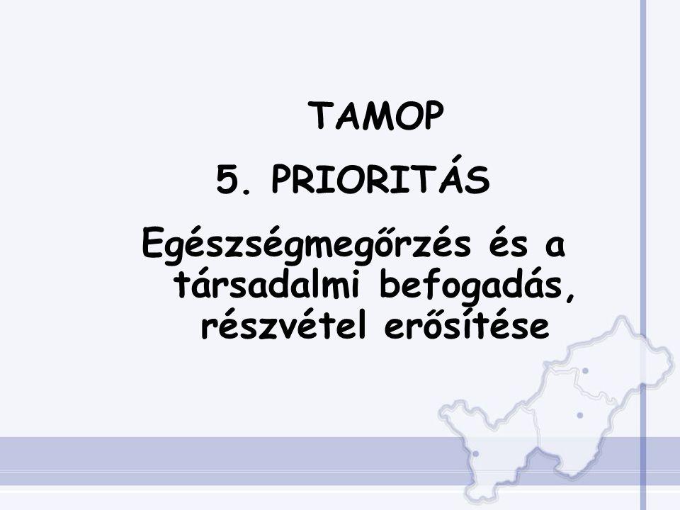 TAMOP 5. PRIORITÁS Egészségmegőrzés és a társadalmi befogadás, részvétel erősítése