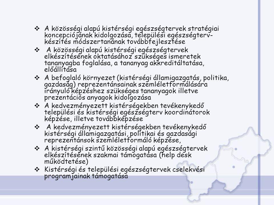  A közösségi alapú kistérségi egészségtervek stratégiai koncepciójának kidolgozása, települési egészségterv- készítés módszertanának továbbfejlesztése  A közösségi alapú kistérségi egészségtervek elkészítésének oktatásához szükséges ismeretek tananyagba foglalása, a tananyag akkreditáltatása, előállítása  A befoglaló környezet (kistérségi államigazgatás, politika, gazdaság) reprezentánsainak szemléletformálására irányuló képzéshez szükséges tananyagok illetve prezentációs anyagok kidolgozása  A kedvezményezett kistérségekben tevékenykedő települési és kistérségi egészségterv koordinátorok képzése, illetve továbbképzése  A kedvezményezett kistérségekben tevékenykedő kistérségi államigazgatási, politikai és gazdasági reprezentánsok szemléletformáló képzése,  A kistérségi szintű közösségi alapú egészségtervek elkészítésének szakmai támogatása (help desk működtetése)  Kistérségi és települési egészségtervek cselekvési programjainak támogatása