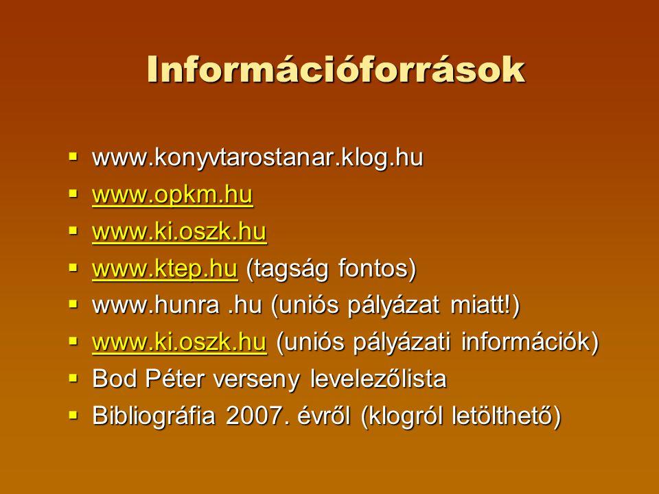 Információforrások  www.konyvtarostanar.klog.hu  www.opkm.hu www.opkm.hu  www.ki.oszk.hu www.ki.oszk.hu  www.ktep.hu (tagság fontos) www.ktep.hu  www.hunra.hu (uniós pályázat miatt!)  www.ki.oszk.hu (uniós pályázati információk) www.ki.oszk.hu  Bod Péter verseny levelezőlista  Bibliográfia 2007.