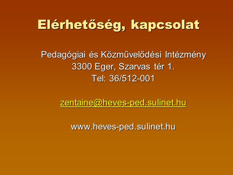 Elérhetőség, kapcsolat Pedagógiai és Közművelődési Intézmény 3300 Eger, Szarvas tér 1. Tel: 36/512-001 zentaine@heves-ped.sulinet.hu www.heves-ped.sul