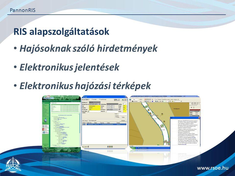 RIS alapszolgáltatások Hajósoknak szóló hirdetmények Elektronikus jelentések Elektronikus hajózási térképek www.rsoe.hu PannonRIS