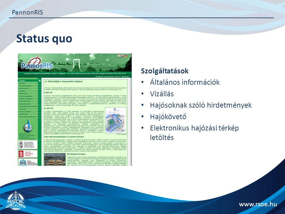 Status quo www.rsoe.hu PannonRIS Szolgáltatások Általános információk Vízállás Hajósoknak szóló hirdetmények Hajókövető Elektronikus hajózási térkép letöltés