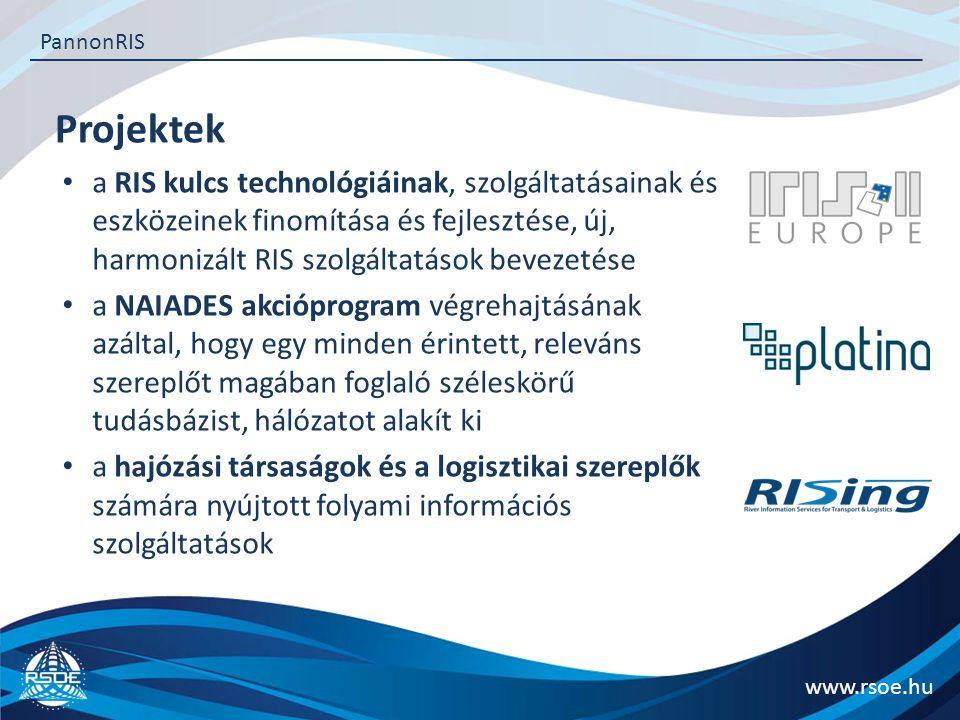 Projektek www.rsoe.hu PannonRIS a RIS kulcs technológiáinak, szolgáltatásainak és eszközeinek finomítása és fejlesztése, új, harmonizált RIS szolgáltatások bevezetése a NAIADES akcióprogram végrehajtásának azáltal, hogy egy minden érintett, releváns szereplőt magában foglaló széleskörű tudásbázist, hálózatot alakít ki a hajózási társaságok és a logisztikai szereplők számára nyújtott folyami információs szolgáltatások