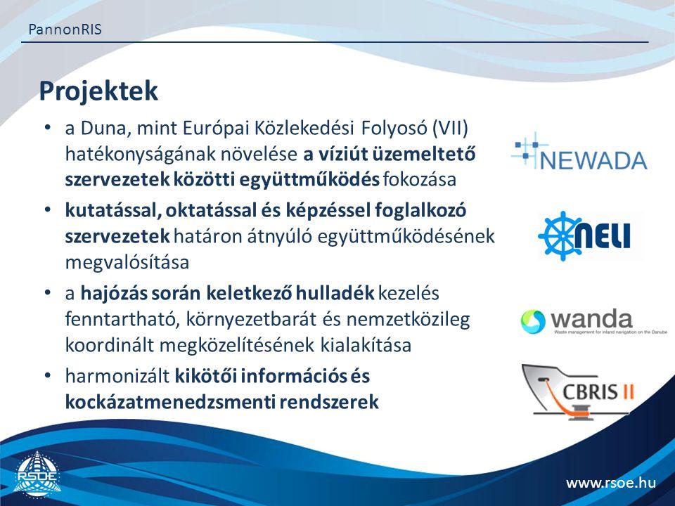 Projektek www.rsoe.hu PannonRIS a Duna, mint Európai Közlekedési Folyosó (VII) hatékonyságának növelése a víziút üzemeltető szervezetek közötti együttműködés fokozása kutatással, oktatással és képzéssel foglalkozó szervezetek határon átnyúló együttműködésének megvalósítása a hajózás során keletkező hulladék kezelés fenntartható, környezetbarát és nemzetközileg koordinált megközelítésének kialakítása harmonizált kikötői információs és kockázatmenedzsmenti rendszerek