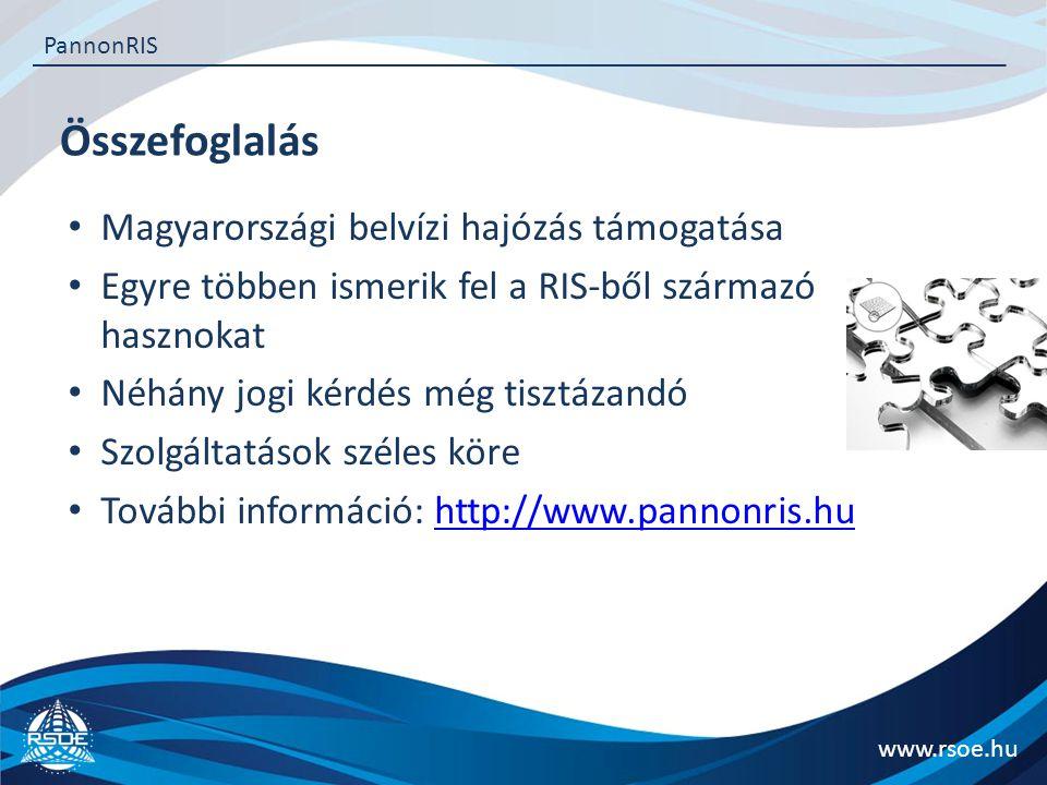 Összefoglalás www.rsoe.hu PannonRIS Magyarországi belvízi hajózás támogatása Egyre többen ismerik fel a RIS-ből származó hasznokat Néhány jogi kérdés még tisztázandó Szolgáltatások széles köre További információ: http://www.pannonris.huhttp://www.pannonris.hu
