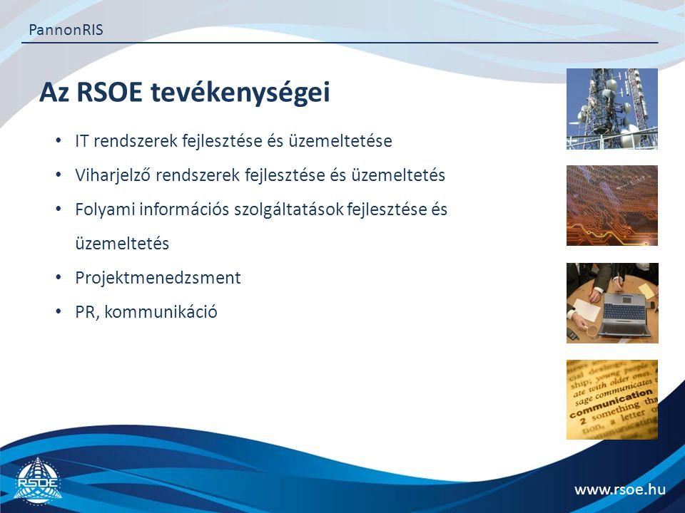 Az RSOE tevékenységei www.rsoe.hu PannonRIS IT rendszerek fejlesztése és üzemeltetése Viharjelző rendszerek fejlesztése és üzemeltetés Folyami információs szolgáltatások fejlesztése és üzemeltetés Projektmenedzsment PR, kommunikáció