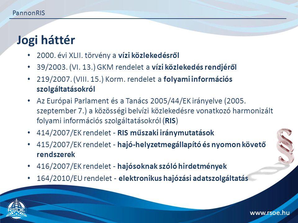 Jogi háttér www.rsoe.hu PannonRIS 2000.évi XLII. törvény a vízi közlekedésről 39/2003.