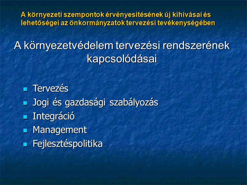 A környezeti szempontok érvényesítésének új kihívásai és lehetőségei az önkormányzatok tervezési tevékenységében A környezetvédelem tervezési rendszerének kapcsolódásai Tervezés Tervezés Jogi és gazdasági szabályozás Jogi és gazdasági szabályozás Integráció Integráció Management Management Fejlesztéspolitika Fejlesztéspolitika