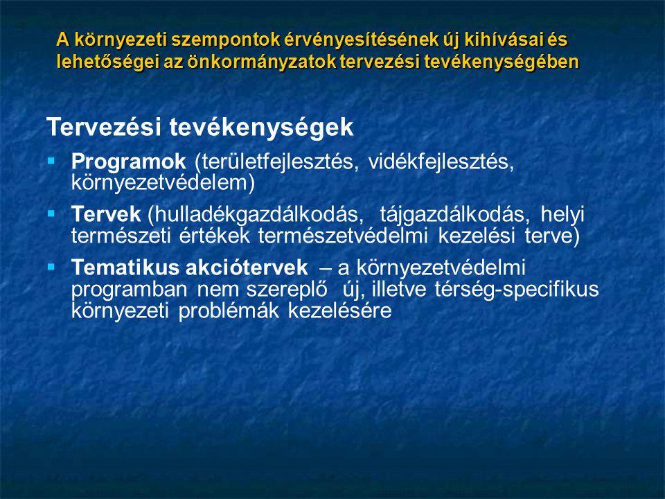 A környezeti szempontok érvényesítésének új kihívásai és lehetőségei az önkormányzatok tervezési tevékenységében Tervezési tevékenységek  Programok (