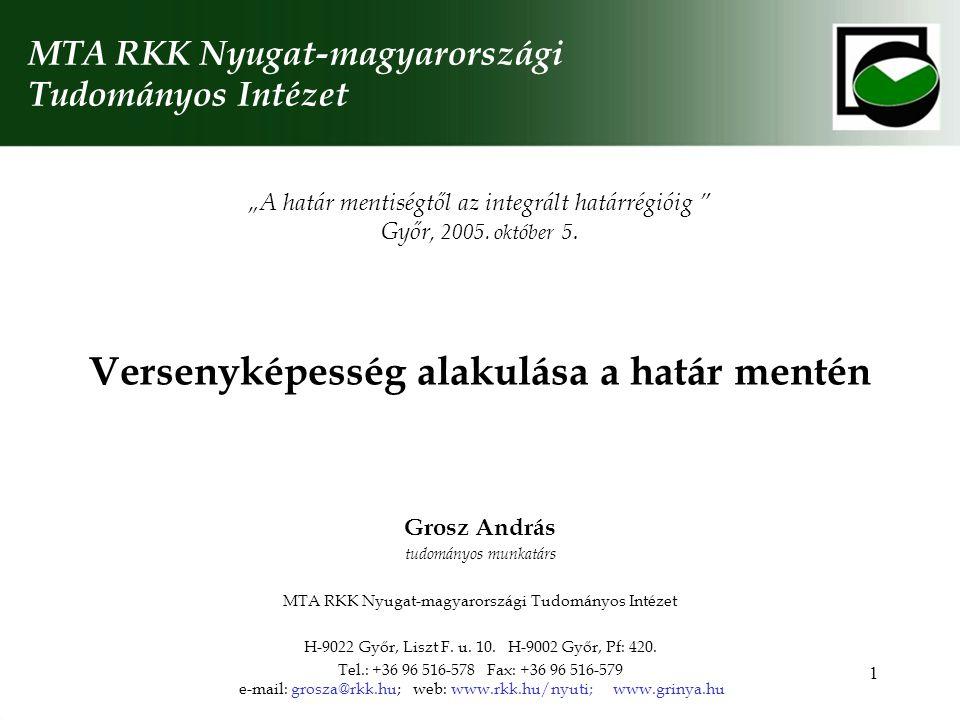 1 Versenyképesség alakulása a határ mentén MTA RKK Nyugat-magyarországi Tudományos Intézet Grosz András tudományos munkatárs MTA RKK Nyugat-magyarországi Tudományos Intézet H-9022 Győr, Liszt F.