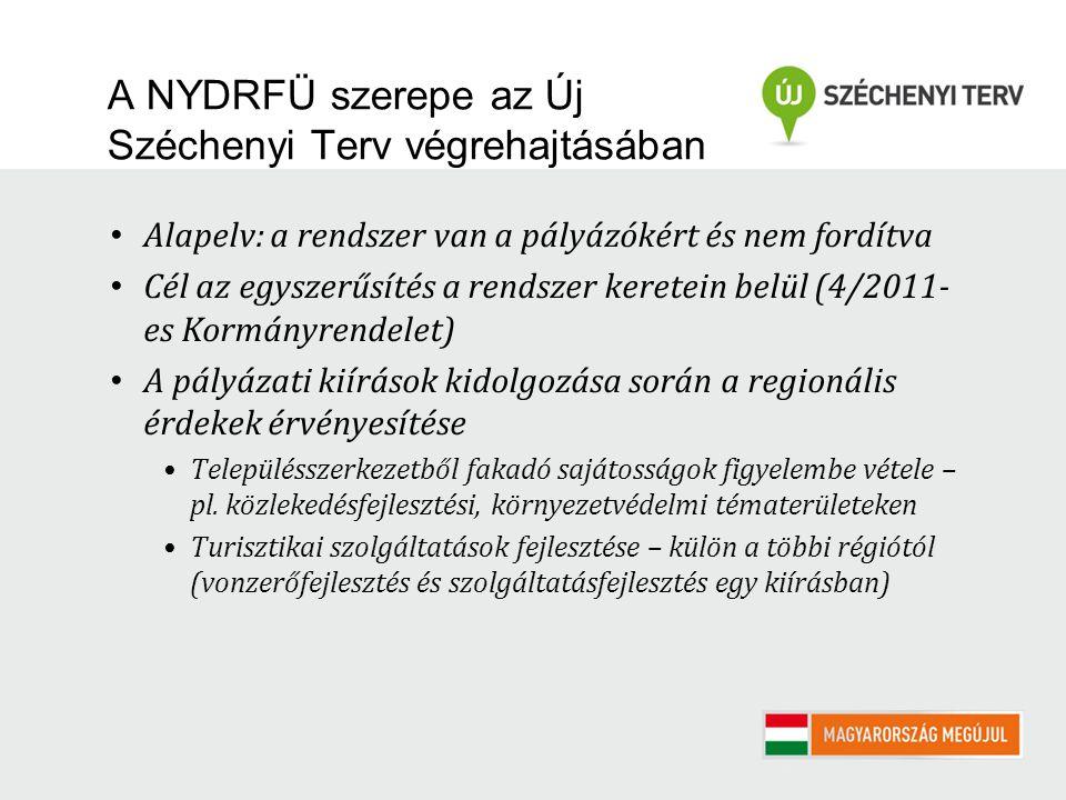 A NYDRFÜ szerepe az Új Széchenyi Terv végrehajtásában Alapelv: a rendszer van a pályázókért és nem fordítva Cél az egyszerűsítés a rendszer keretein belül (4/2011- es Kormányrendelet) A pályázati kiírások kidolgozása során a regionális érdekek érvényesítése Településszerkezetből fakadó sajátosságok figyelembe vétele – pl.