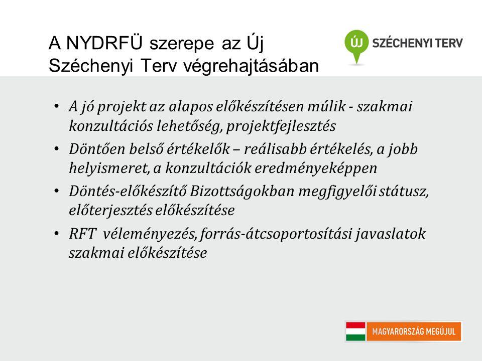 A NYDRFÜ szerepe az Új Széchenyi Terv végrehajtásában A jó projekt az alapos előkészítésen múlik - szakmai konzultációs lehetőség, projektfejlesztés D