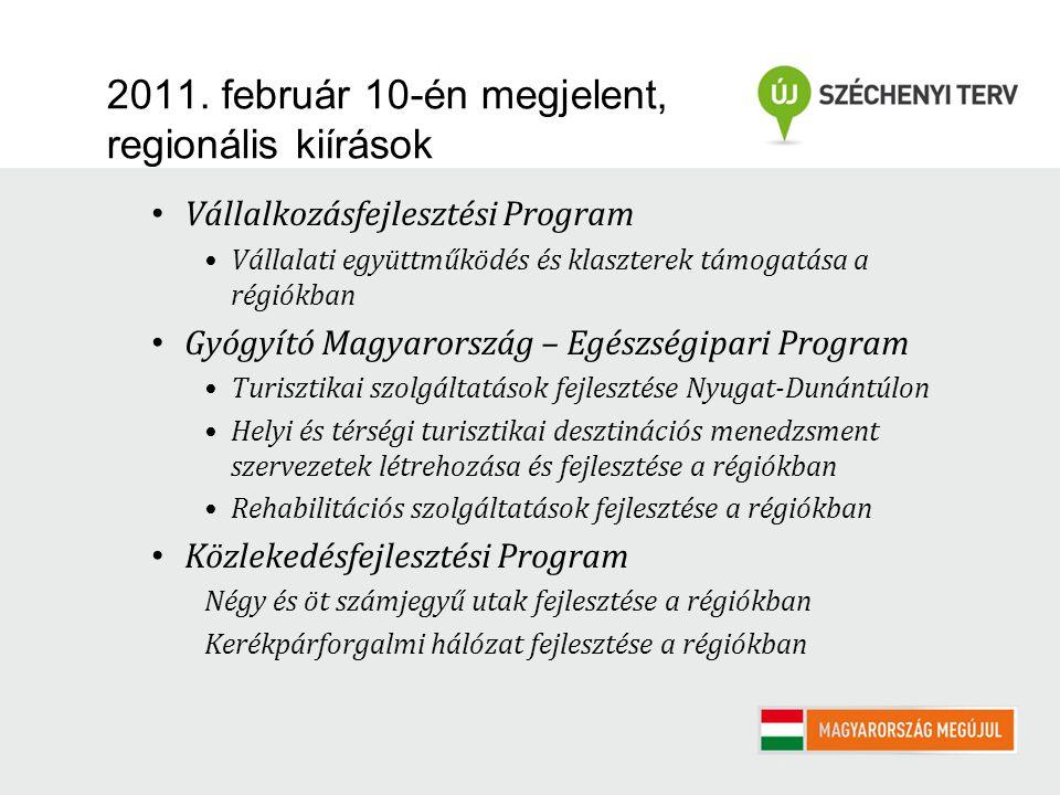 2011. február 10-én megjelent, regionális kiírások Vállalkozásfejlesztési Program Vállalati együttműködés és klaszterek támogatása a régiókban Gyógyít