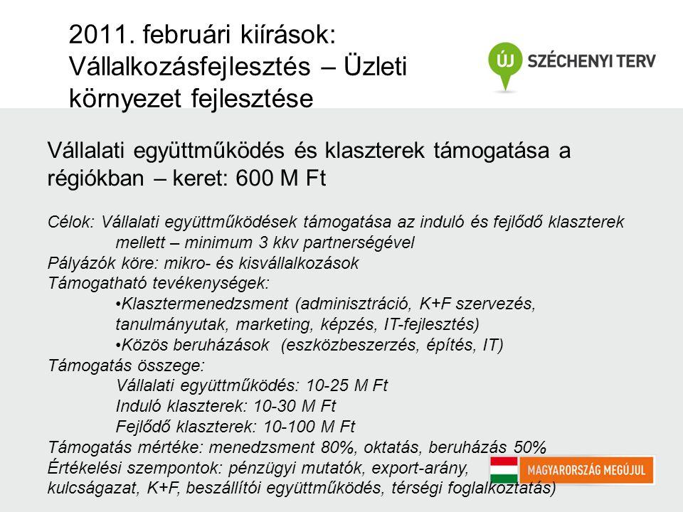 2011. februári kiírások: Vállalkozásfejlesztés – Üzleti környezet fejlesztése Vállalati együttműködés és klaszterek támogatása a régiókban – keret: 60