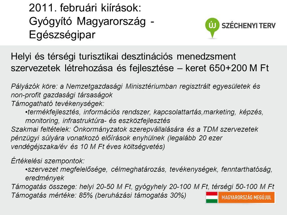 2011. februári kiírások: Gyógyító Magyarország - Egészségipar Helyi és térségi turisztikai desztinációs menedzsment szervezetek létrehozása és fejlesz