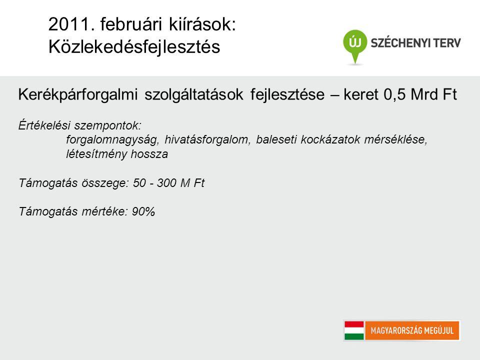 2011. februári kiírások: Közlekedésfejlesztés Kerékpárforgalmi szolgáltatások fejlesztése – keret 0,5 Mrd Ft Értékelési szempontok: forgalomnagyság, h