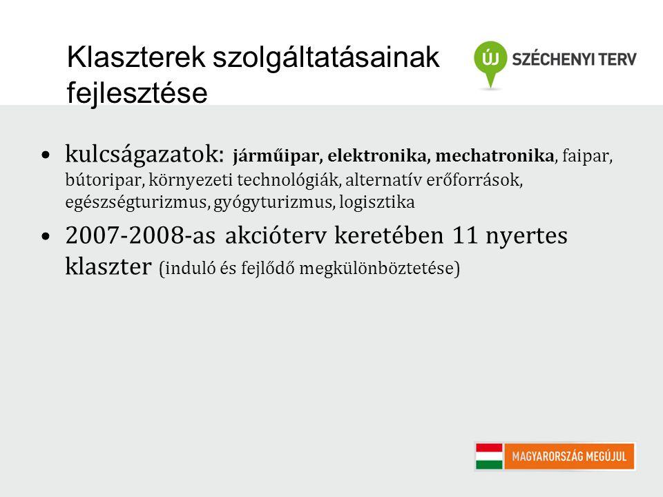Klaszterek szolgáltatásainak fejlesztése kulcságazatok: járműipar, elektronika, mechatronika, faipar, bútoripar, környezeti technológiák, alternatív erőforrások, egészségturizmus, gyógyturizmus, logisztika 2007-2008-as akcióterv keretében 11 nyertes klaszter (induló és fejlődő megkülönböztetése)