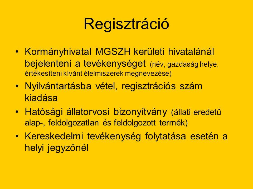 Regisztráció Kormányhivatal MGSZH kerületi hivatalánál bejelenteni a tevékenységet (név, gazdaság helye, értékesíteni kívánt élelmiszerek megnevezése) Nyilvántartásba vétel, regisztrációs szám kiadása Hatósági állatorvosi bizonyítvány (állati eredetű alap-, feldolgozatlan és feldolgozott termék) Kereskedelmi tevékenység folytatása esetén a helyi jegyzőnél