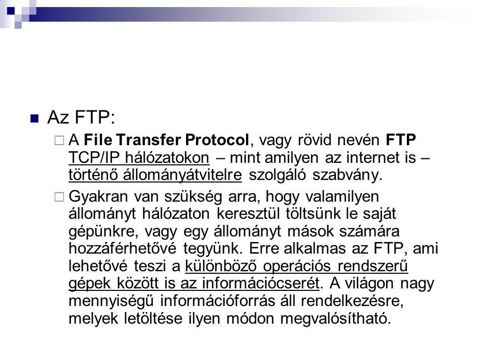 Az FTP:  A File Transfer Protocol, vagy rövid nevén FTP TCP/IP hálózatokon – mint amilyen az internet is – történő állományátvitelre szolgáló szabván