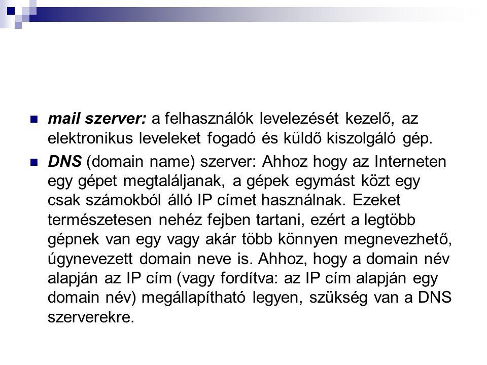 mail szerver: a felhasználók levelezését kezelő, az elektronikus leveleket fogadó és küldő kiszolgáló gép. DNS (domain name) szerver: Ahhoz hogy az In