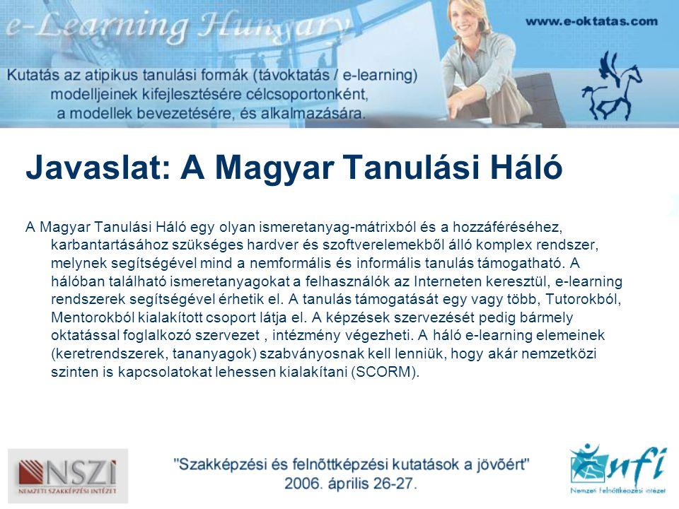 Javaslat: A Magyar Tanulási Háló A Magyar Tanulási Háló egy olyan ismeretanyag-mátrixból és a hozzáféréséhez, karbantartásához szükséges hardver és szoftverelemekből álló komplex rendszer, melynek segítségével mind a nemformális és informális tanulás támogatható.