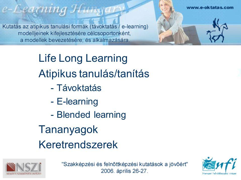 Life Long Learning Atipikus tanulás/tanítás -Távoktatás -E-learning -Blended learning Tananyagok Keretrendszerek