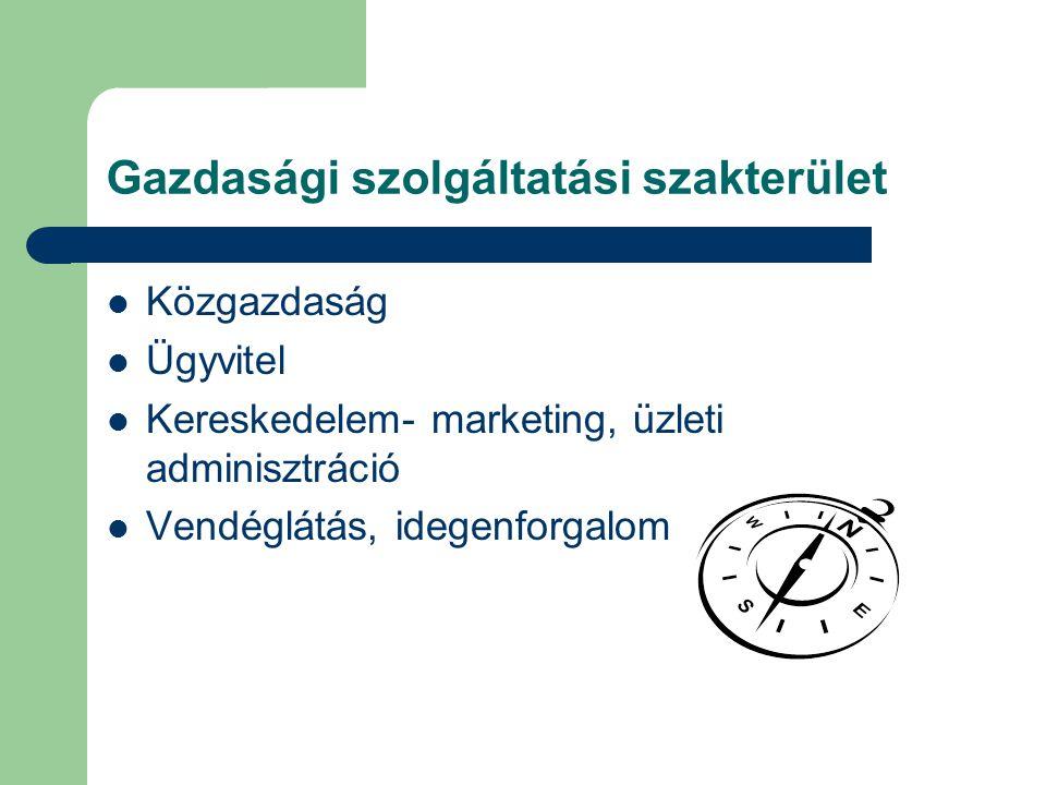 Gazdasági szolgáltatási szakterület Közgazdaság Ügyvitel Kereskedelem- marketing, üzleti adminisztráció Vendéglátás, idegenforgalom