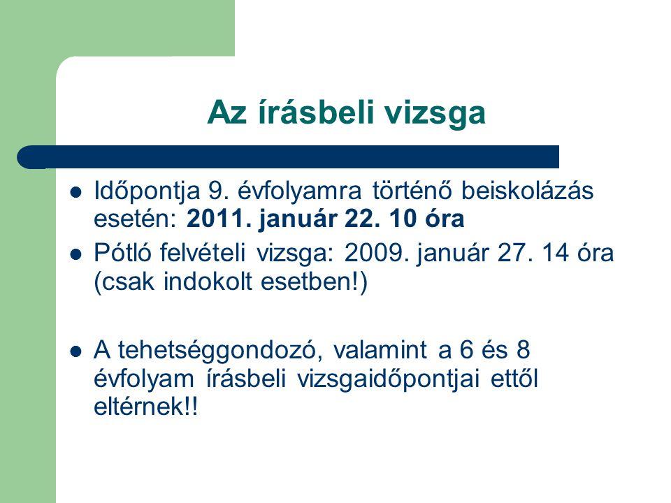 Az írásbeli vizsga Időpontja 9. évfolyamra történő beiskolázás esetén: 2011. január 22. 10 óra Pótló felvételi vizsga: 2009. január 27. 14 óra (csak i