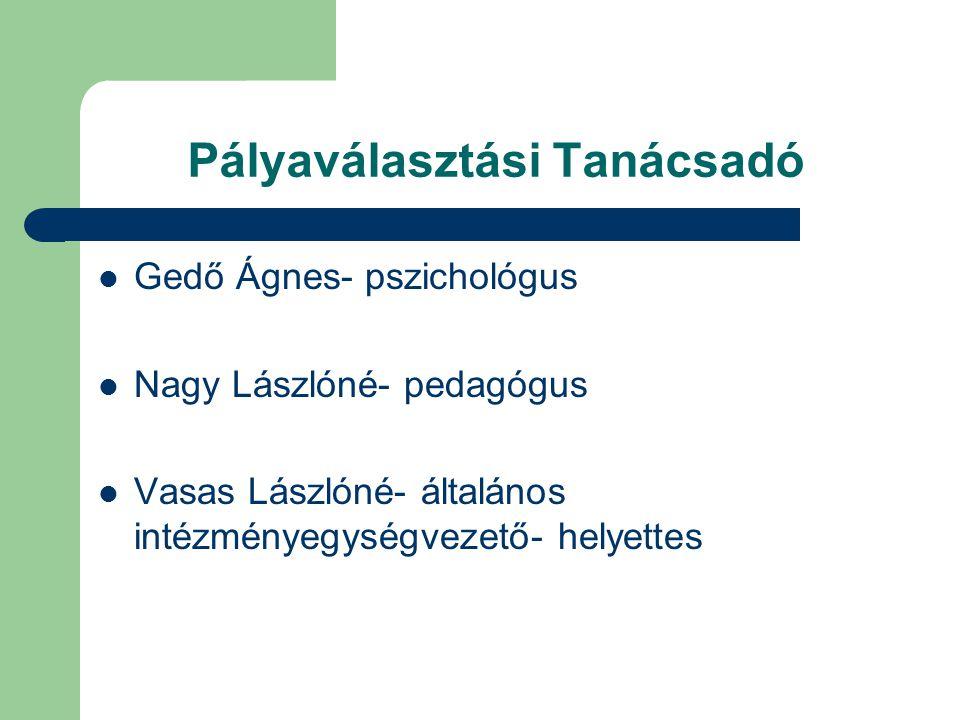 Pályaválasztási Tanácsadó Gedő Ágnes- pszichológus Nagy Lászlóné- pedagógus Vasas Lászlóné- általános intézményegységvezető- helyettes